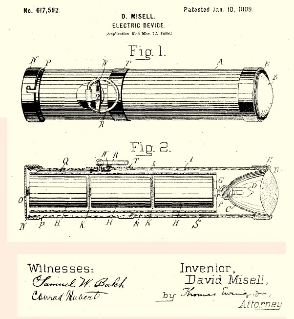 David Mi S First Flashlight Patent While Employed By Conrad Hubert American Electrical Novelty Manufacturing Company No 617 592